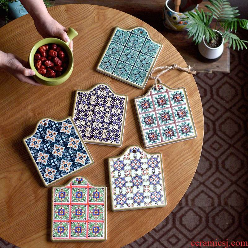 Morocco amorous feelings of the memory of old times eat mat of pottery and porcelain pot pad insulation pad retro tile plate B,