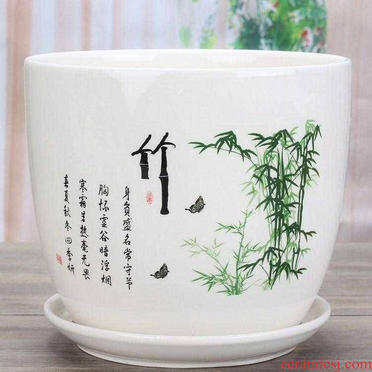 Special porcelain pot with tray was one pot tray was ground ceramic flower pot chlorophytum purple flower POTS