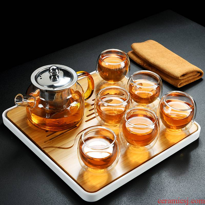 Old &, high temperature hold can be boiled glass teapot tea set household double insulation cup tea tea tray tray
