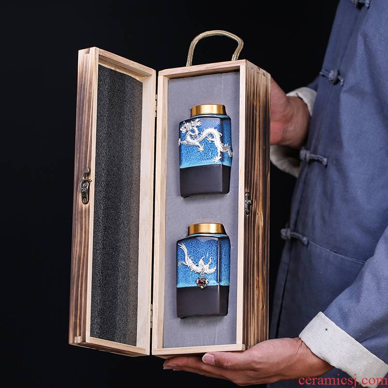 Blue amber aluminum cover tea box storage POTS up with silver tea pot home outfit caddy fixings store receives gift boxes