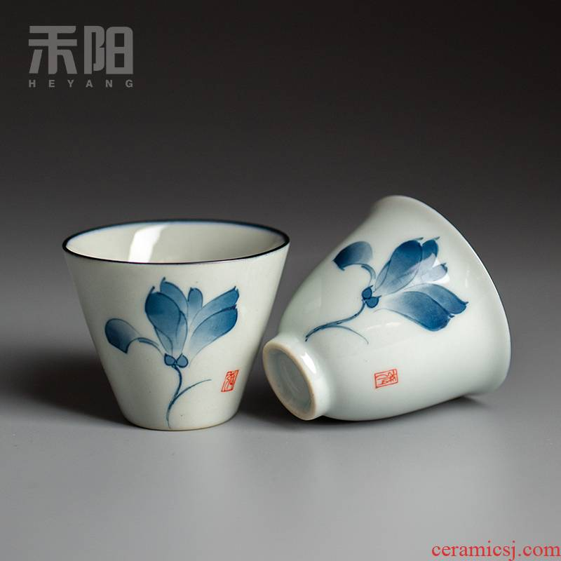Send YangChun hand - made porcelain cups sample tea cup tea cup clay ceramic kung fu masters cup, household small cups