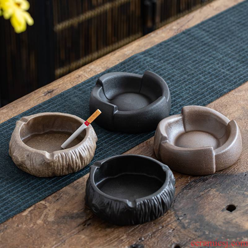 Coarse pottery ashtray home office individuality creative trend Chinese style restoring ancient ways is the sitting room tea with tea zero accessories