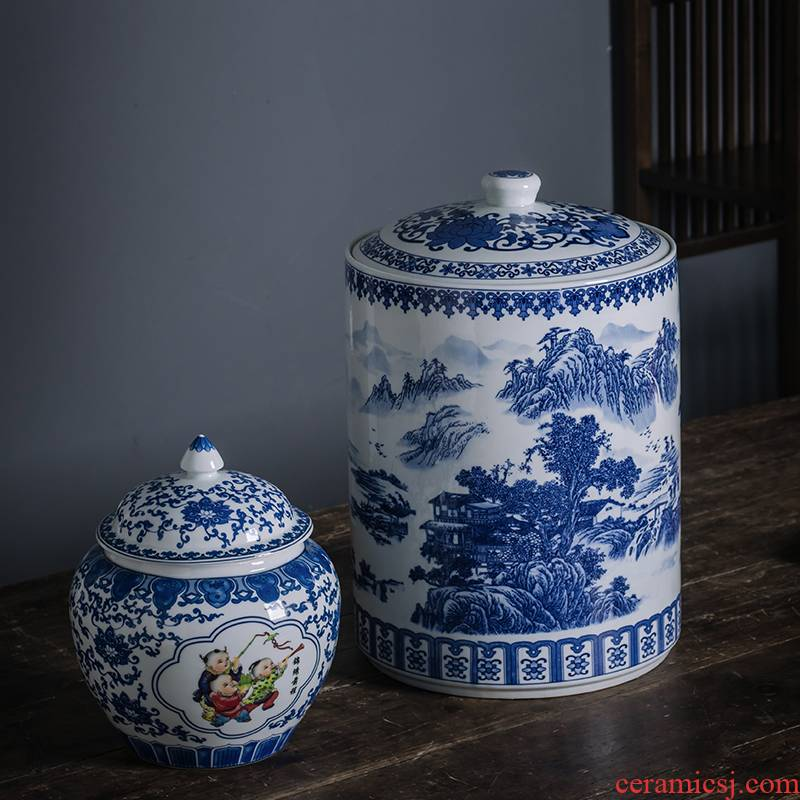 Caddy fixings large pu seal pot wake receives ceramic tea urn storage household receives blue&white porcelain jar with cover