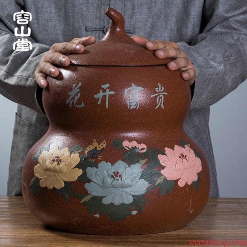 Vatican let yixing large - sized purple sand tea pot type hoist seven loaves bucket of pu - erh tea tea cake tin box