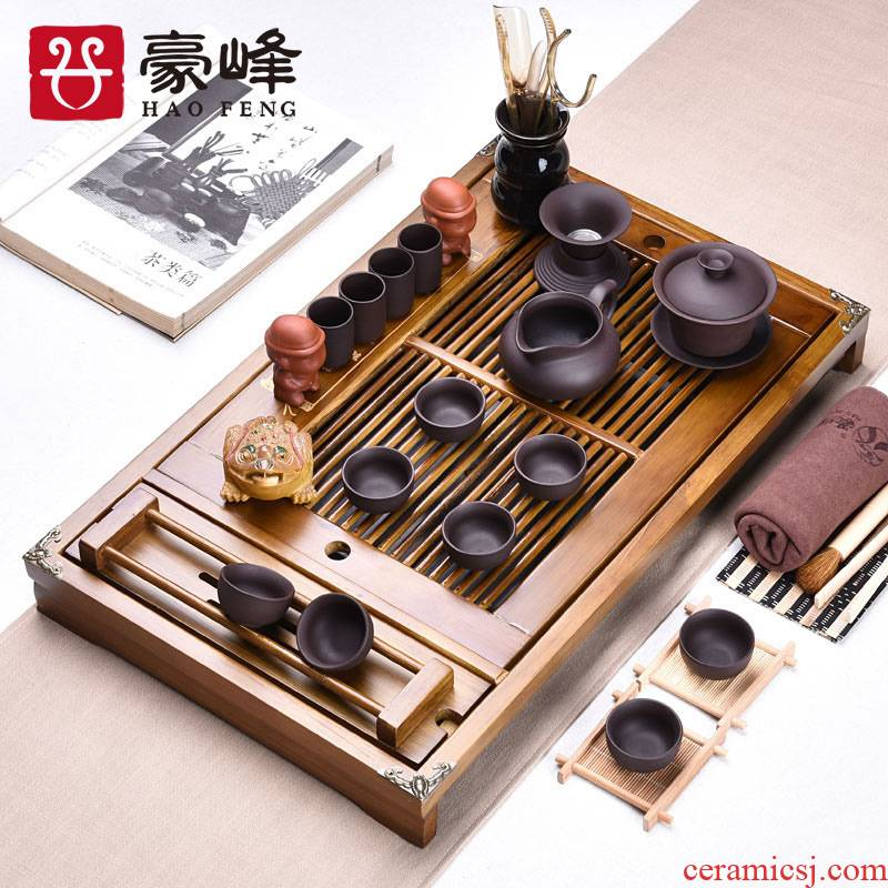 HaoFeng solid wood tea tray of a complete set of tea set tea saucer sea ice to crack your up kung fu suit of blue and white porcelain