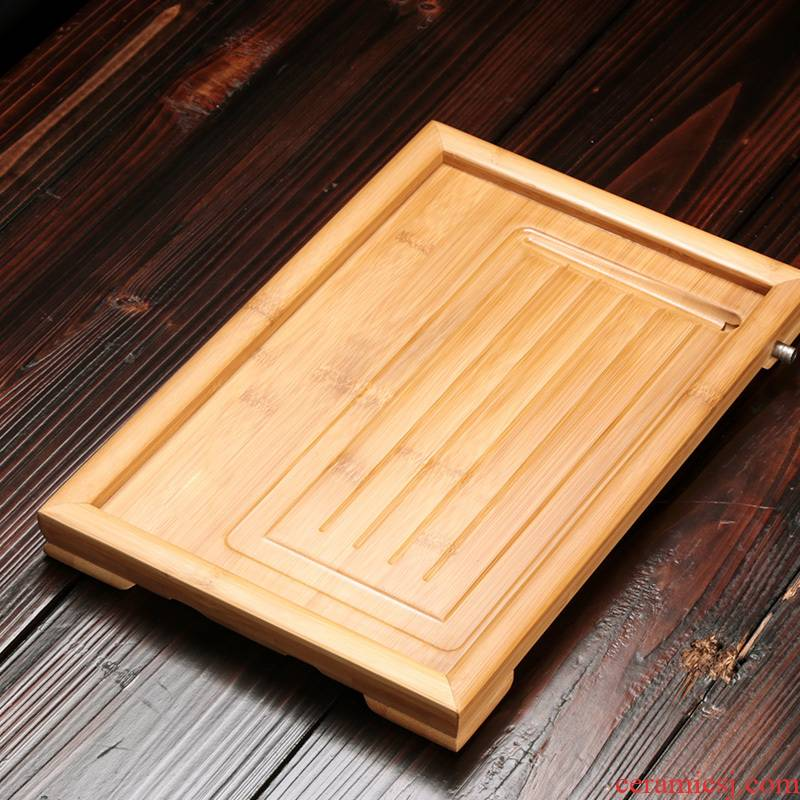 Modern bamboo tea tray household contracted drainage small bamboo tea sets of kung fu tea saucer plate of the sitting room is a rectangle