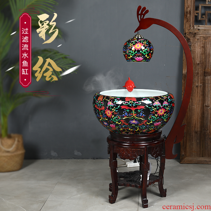 Jingdezhen ceramic aquarium Chinese style furnishing articles fish basin circulation water filter goldfish bowl sitting room home with lamp