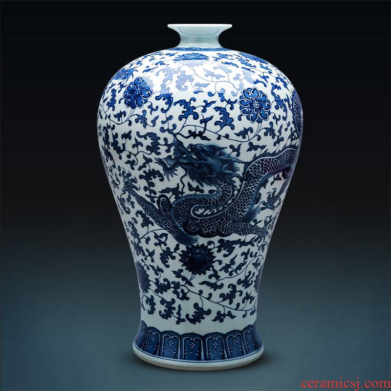 Jingdezhen porcelain ceramic large blue and white porcelain vase furnishing articles archaize floor may bottles of Chinese style household adornment furnishing articles