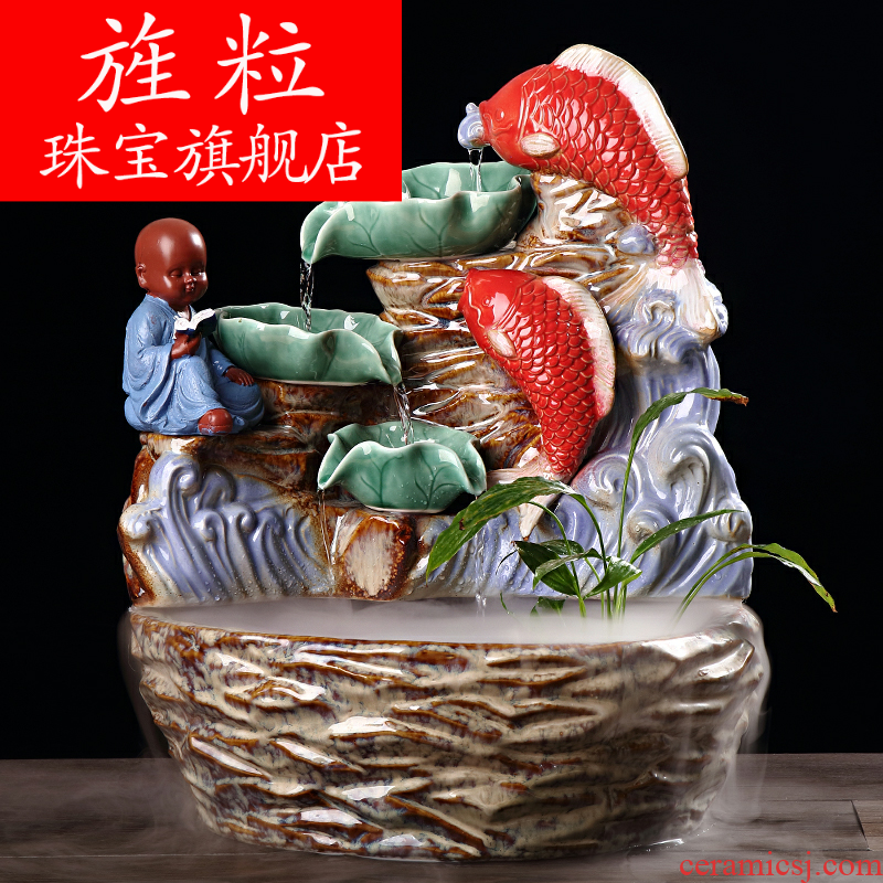 Continuous grain ceramic water fountain indoor lucky fish pond the opened the gift and the sitting room TV ark, household soft outfit decoration