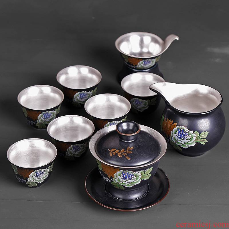 Kung fu tea set ceramic household of Chinese style restoring ancient ways tasted silver gilding silver tureen office six cups of gift boxes