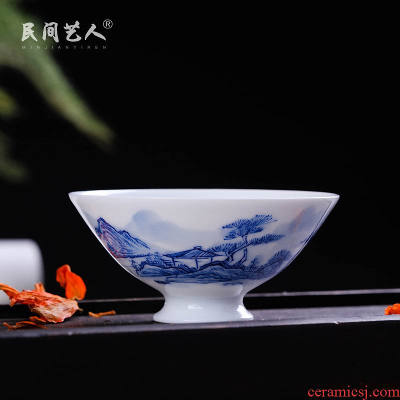 Jingdezhen porcelain and hand draw small cups white porcelain sample tea cup bowl bowl kung fu tea set small cup