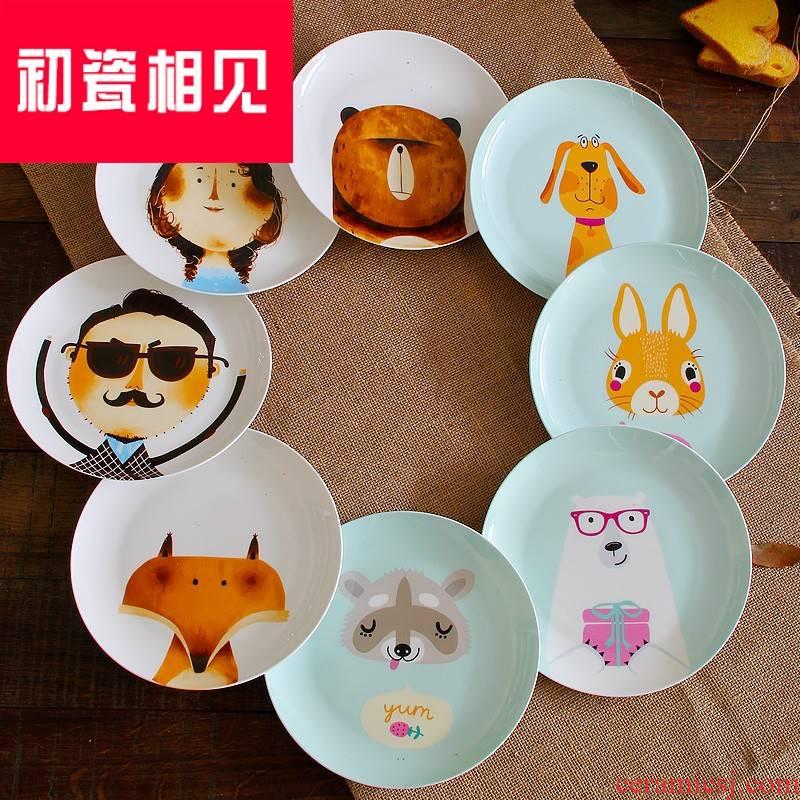 Porcelain meet each other at the beginning of ipads China cartoon dish ceramic plate of children offer creative beefsteak snack plate of cartoon Porcelain