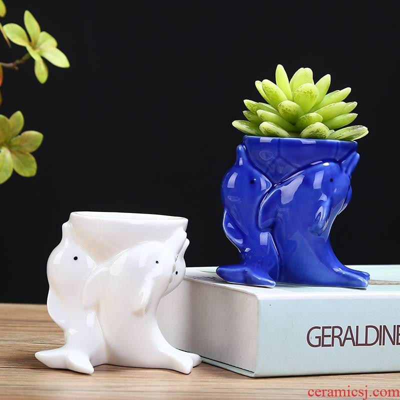 Creative move cartoon animal flowerpot ceramic lovely sitting room more meat plant white flower implement small desktop furnishing articles