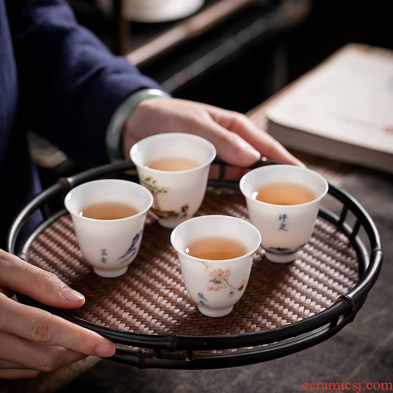 Fujian and suet jade porcelain masters cup single CPU Japanese hand - made ceramic sample tea cup with white porcelain kung fu tea cups