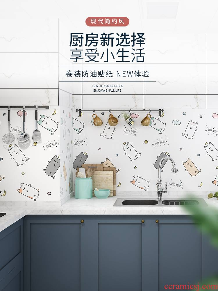Oil becomes high - temperature, the kitchen stove with wall cabinet mesa of fire prevention and waterproof adhesive ceramic tile which wallpaper