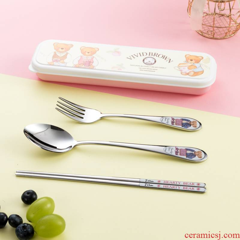 304 children South Chesapeake imported stainless steel chopsticks spoons forks suit tableware box students portable tableware suit