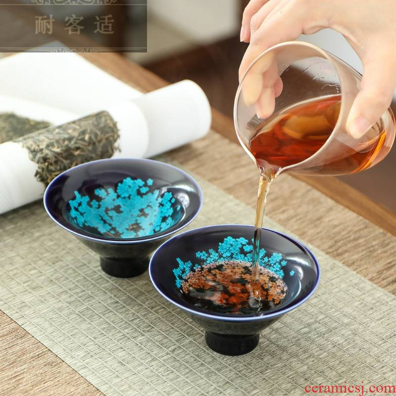 Guest comfortable peach blossom put color - changed cup encounter water heat to hold change hat to ceramic cup kung fu large tea cups of tea, master