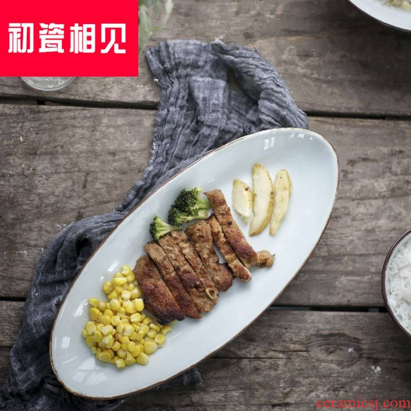 Porcelain meet each other at the beginning of the creative ceramic dish plates of sushi Japanese snack dish dish heterosexual deep dish fish dish packages mailed home