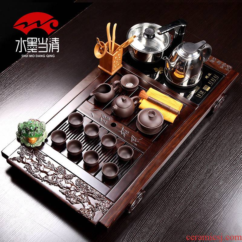 Kung fu tea set four unity of electric heating furnace which ceramic household purple sand tea contracted style restoring ancient ways of modern