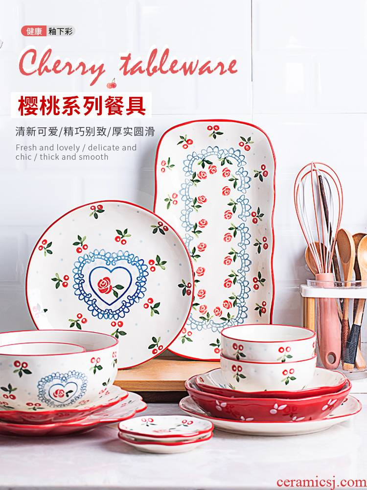 Japanese cherry dishes suit household lovely creative web celebrity 0 dishes the ceramic bowl chopsticks tableware portfolio