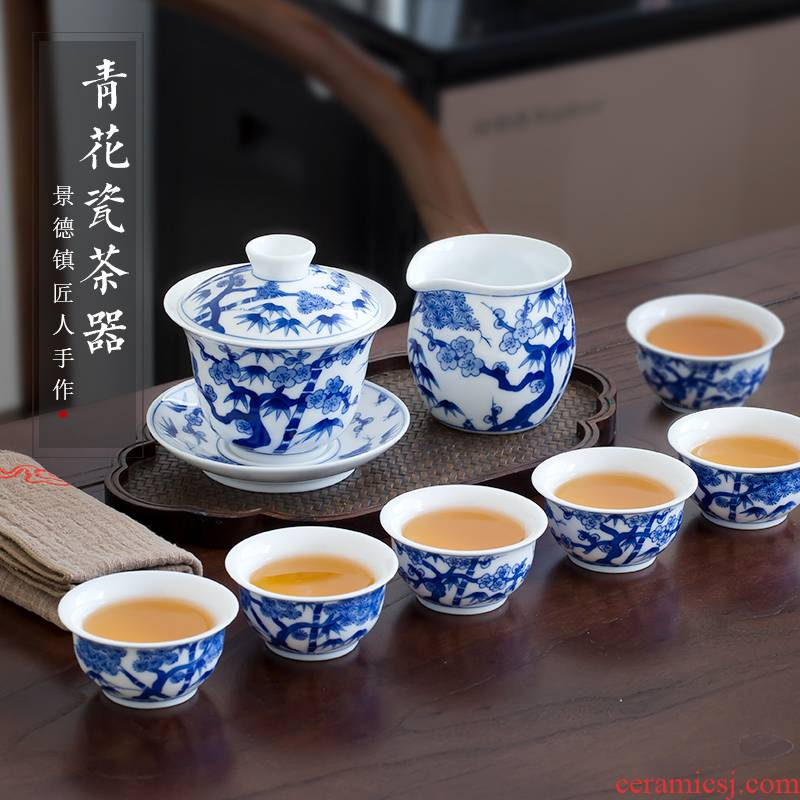 Jingdezhen up the fire which high - grade ceramic kung fu tea set suit household hand - made kung fu tureen of blue and white porcelain cup