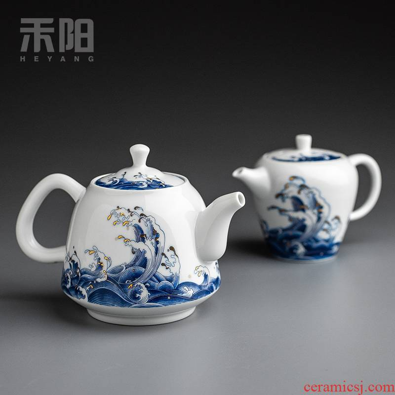 Send Yang mare undarum pentium ceramic teapot large teapot blue small single pot of household of Chinese style kung fu tea set the teapot