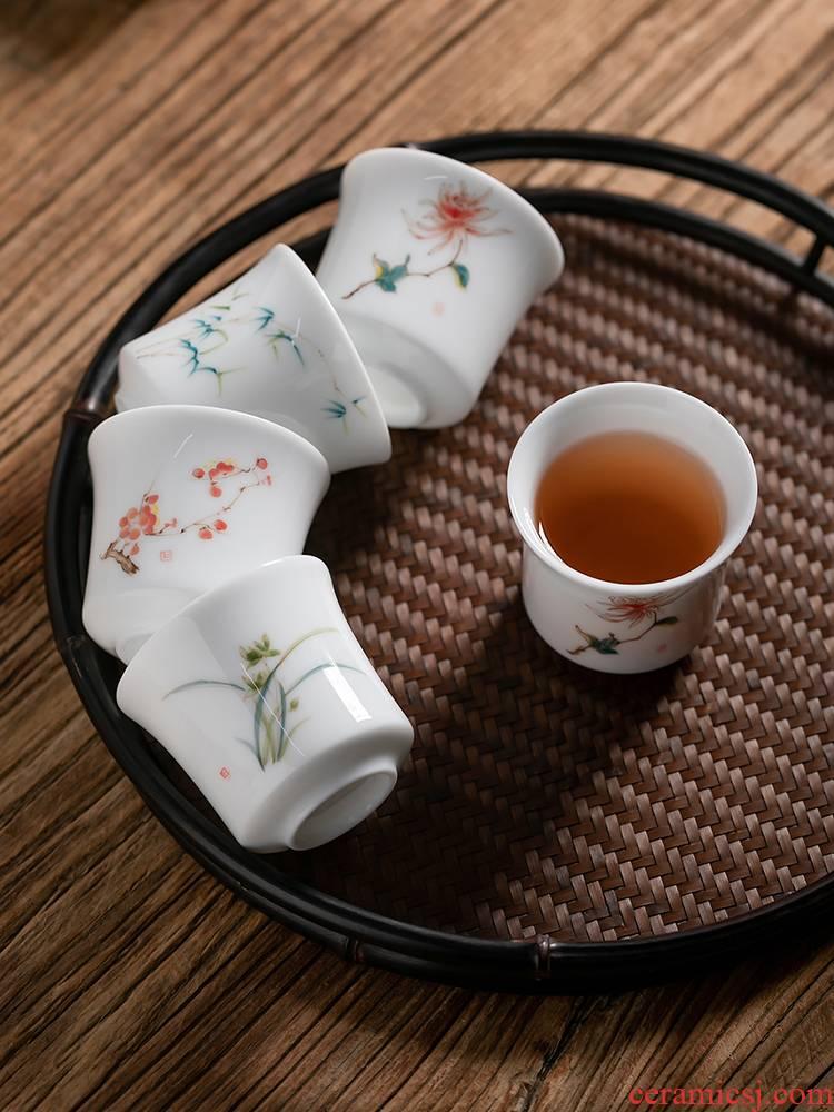 Fujian household sample tea cup and ceramic cups personal tea Japanese hand - made white porcelain masters cup single CPU kung fu tea set