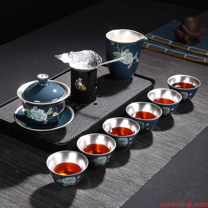 Morning high ceramic coppering. As silver kung fu tea set colored enamel coppering. As silver tureen teapot tea cup gift box master CPU