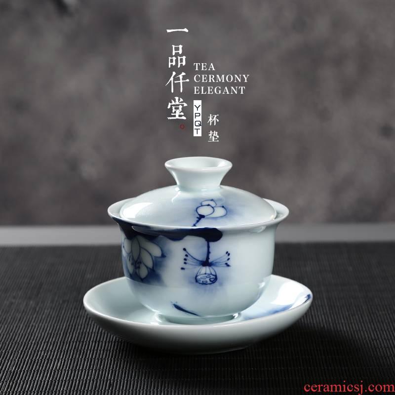Yipin # $hand - made celadon tureen lotus lotus glaze color to use three tureen ceramic kung fu tea set with parts