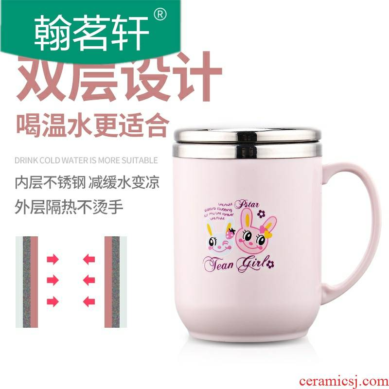 Mark cup with cover cup 304 stainless steel spoon, office creative children picking keller cup coffee cup
