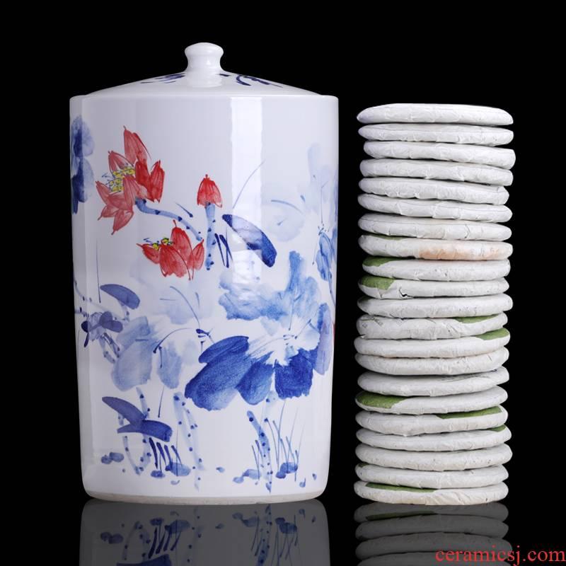Lotus to heavy straight puer tea boxes caddy fixings household ceramics shengchan dui seal pot of tea cake storage tanks