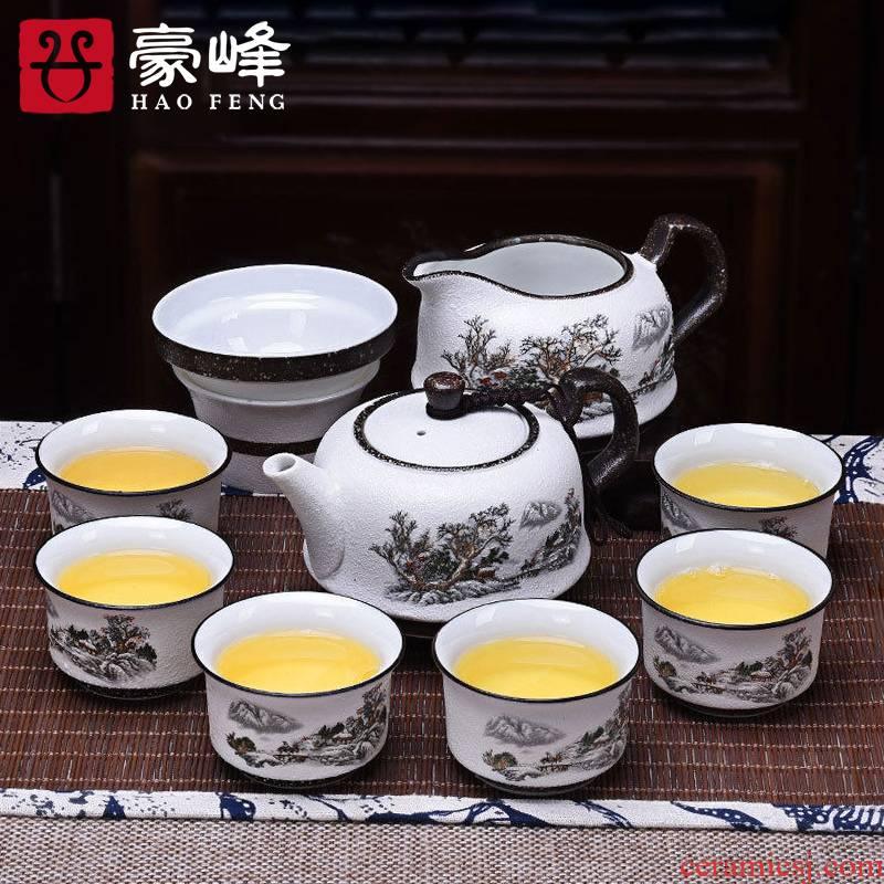 HaoFeng snowflakes jade glaze porcelain white porcelain and ipads porcelain of a complete set of kung fu tea set suit household teapot tea cups