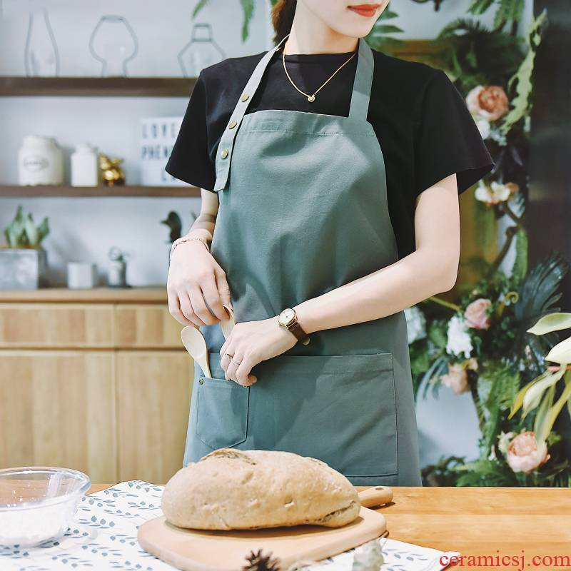 Ins apron cotton waterproof milk tea cafe restaurant kitchen nail han edition, men and women fashion thanks