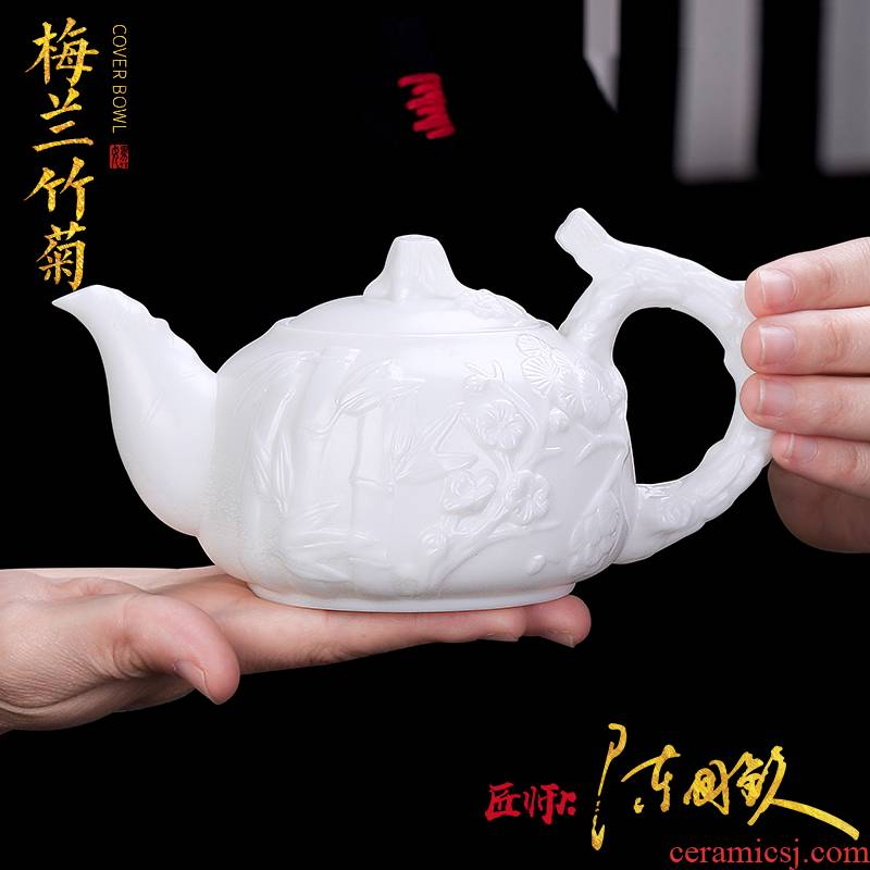 The Master artisan fairy guo - qin Chen white porcelain teapot pure manual suet jade biscuit firing single pot of household creative teapot