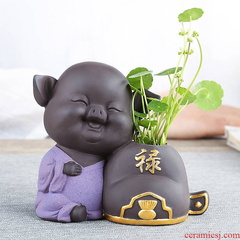 Chinese cartoon pig violet arenaceous other grass cooper hydroponic flower POTS of creative move aquatic flowers flower implement ceramics