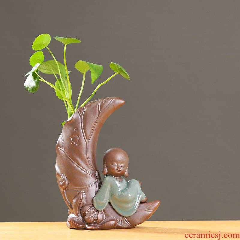 Creative move by the young monk flower implement other ceramic vase household adornment grass cooper hydroponic flower pot container furnishing articles