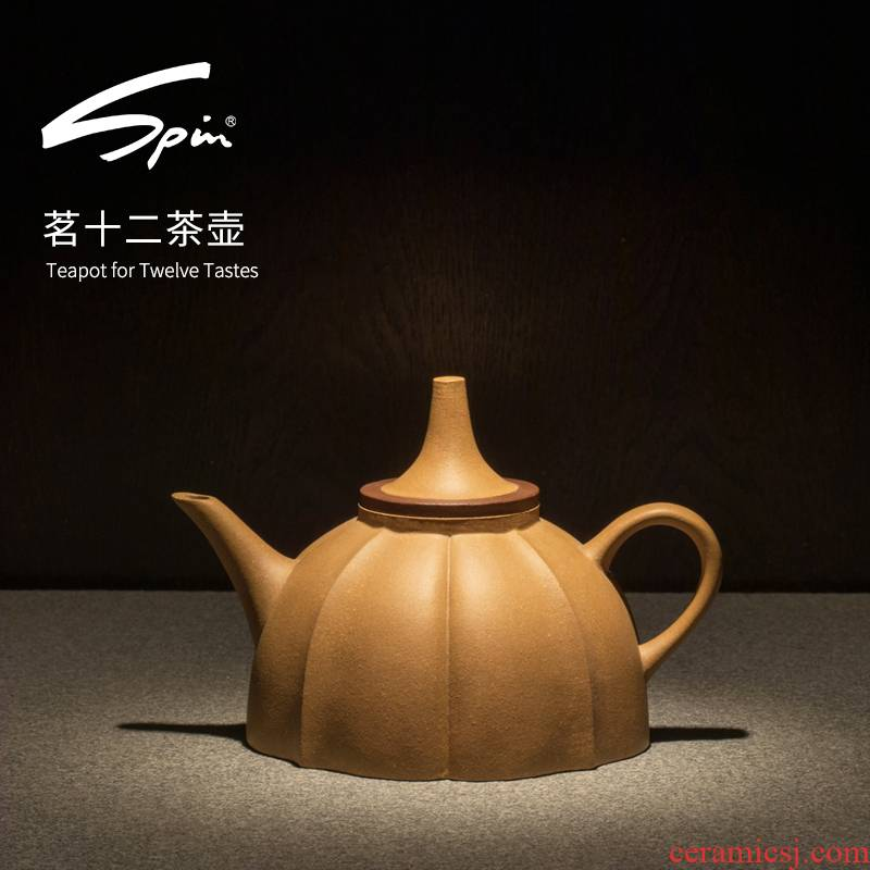 Spin nameplates, twelve yixing teapot it kung fu tea pot large - capacity single pot of domestic large purple sand tea set