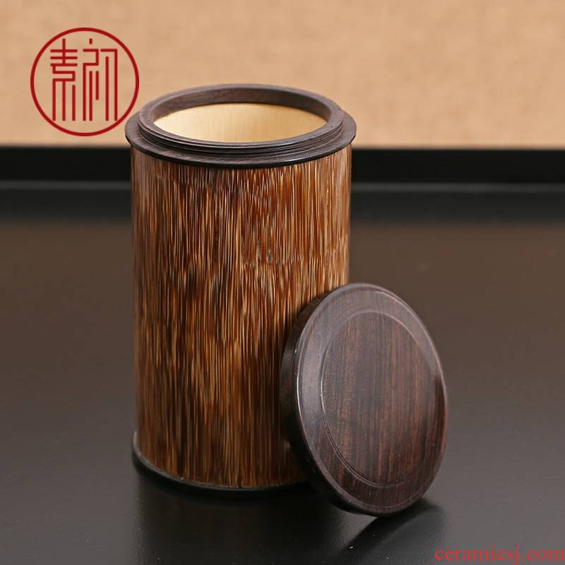 Plain gold silk and tea pot portable wake early bamboo barrels of small bamboo tea barrel travel seal tea box package