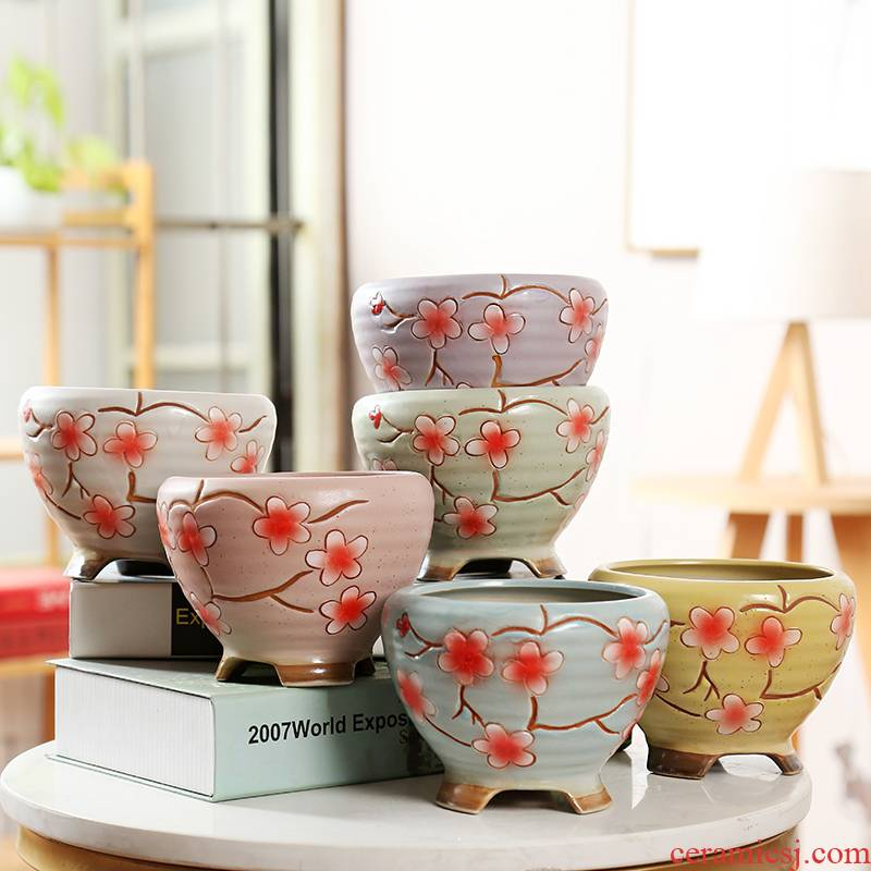End hand - made large flying saucer fleshy flowerpot coarse pottery flowerpot Korean creative breathable meat meat bag mail clearance