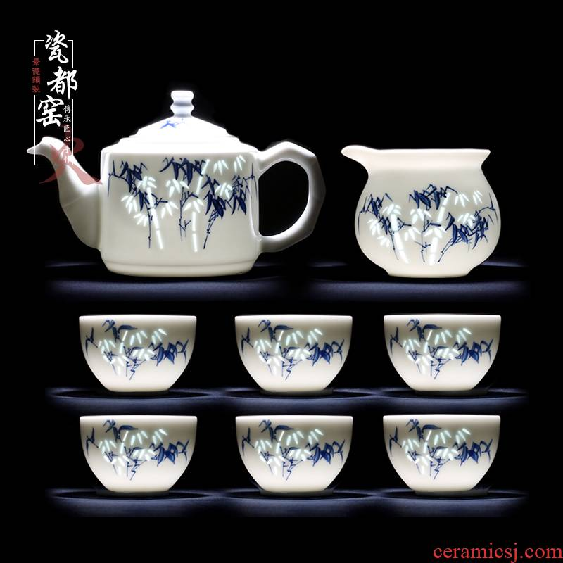 High - grade kung fu tea set ceramic teapot household jingdezhen blue and white exquisite Chinese teacups hand - made tea set