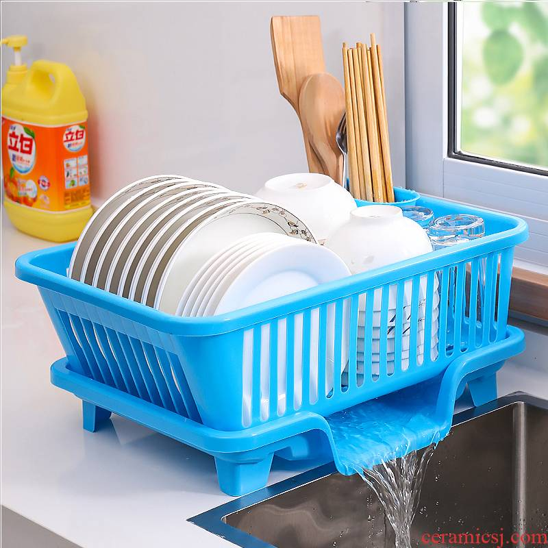 Drop the kitchen cupboard shelf household put chopsticks disc plate tableware receive basket plastic large simple dish rack