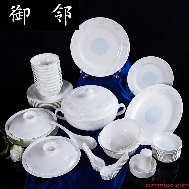 Propagated taobao sell Chinese contracted ceramic tableware creative gift ipads bowls plates 56 head
