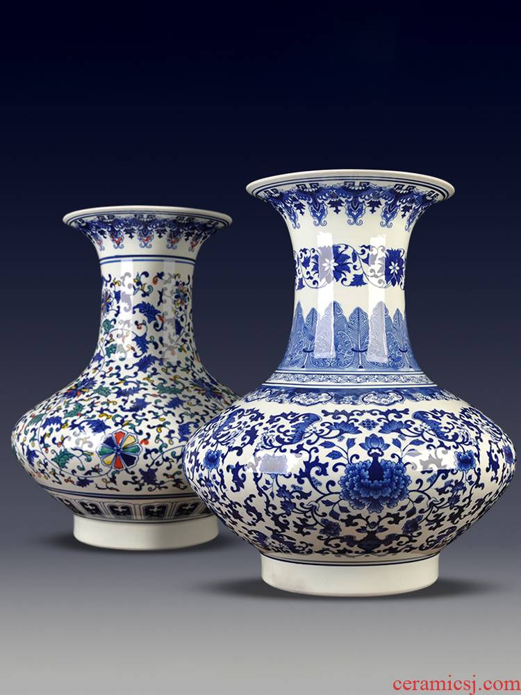 Jingdezhen porcelain imitation the qing qianlong hand - made ceramic flat belly vase branch lotus sitting room adornment of new Chinese style furnishing articles