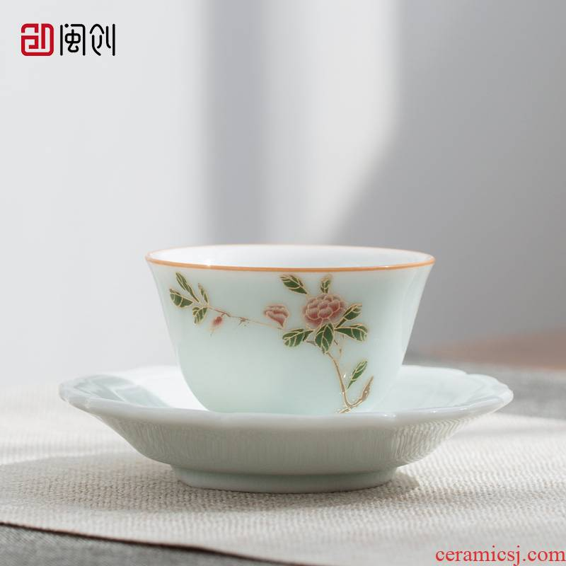 Fujian and ceramic cups master cup single CPU household contracted the see colour green Japanese individual sample tea cup kung fu tea set