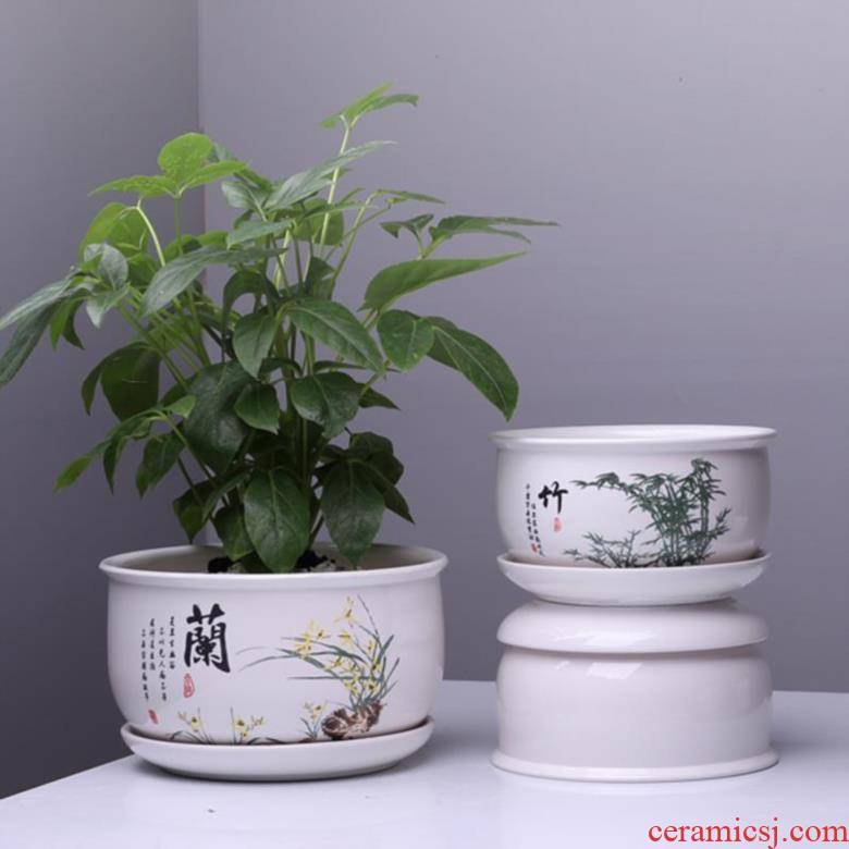 Large ceramic flower pot size extra Large Korean 30 cm orchids white porcelain round tray was big flowerpot wearing green