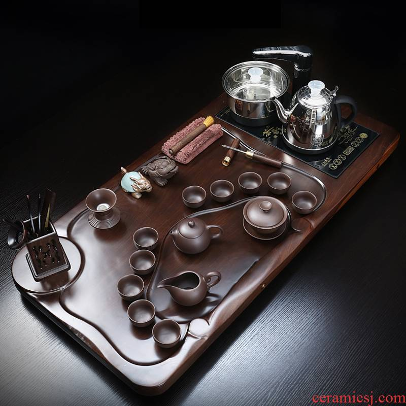 True sheng ebony wood tea tray tea set automatic induction cooker kung fu tea tea tea set