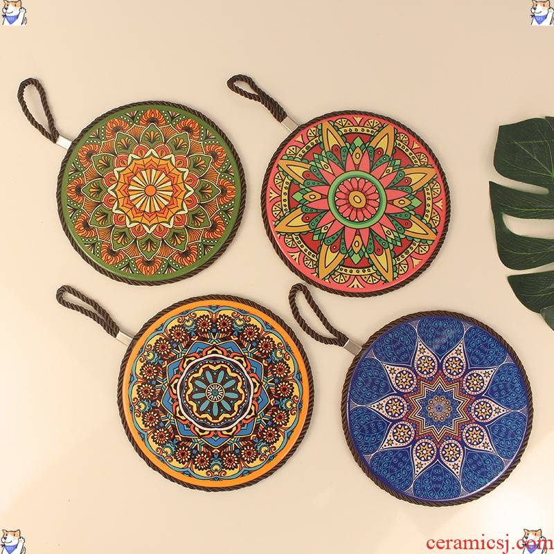 Ceramic lawsuits slide coasters hang decorations coffee cup pad insulation hot eat mat pot pad to restore ancient ways in India