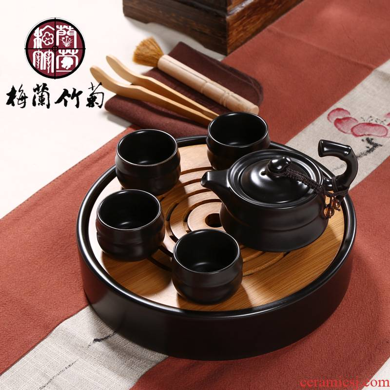Ceramic dry mercifully mini storage small round bamboo double purple sand tea tray was portable Japanese kung fu tea set