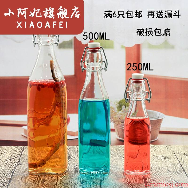 Practical gifts to send people not air leakage empty glass bottle 1000 ml brewed wine festival bright half jins of sealing