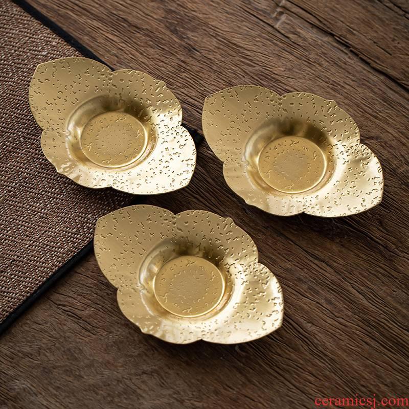 Pure copper ingots cup mat mat cup holder saucer tea tea kungfu tea accessories zero cup insulation mat